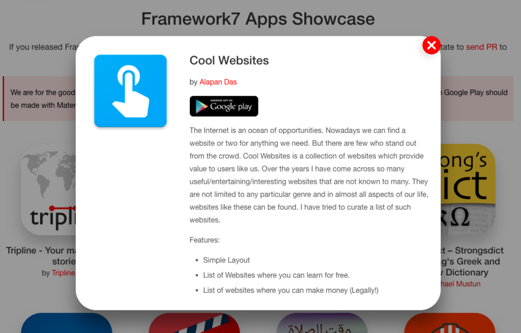Cool Websites Framework7 Showcase