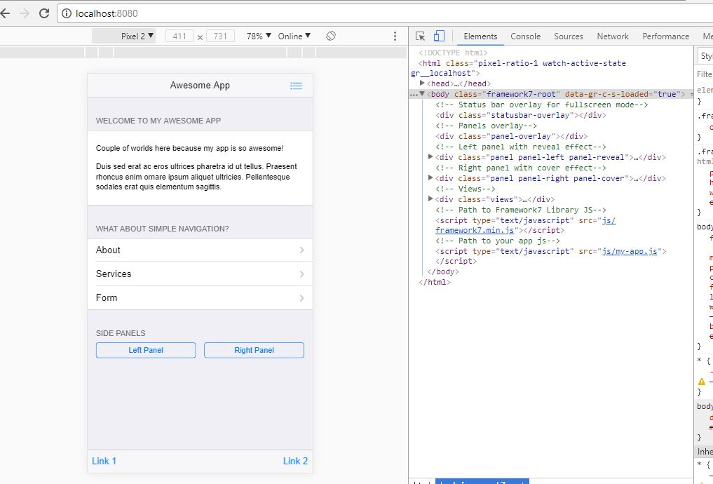 How I created my First Android app using Framework7 and