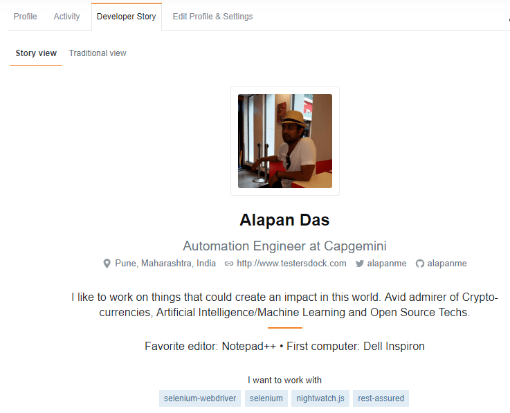 Alapan developer story stackoverflow